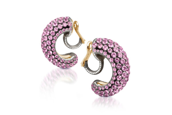 Pink Sapphire And Diamond Creole Earrings