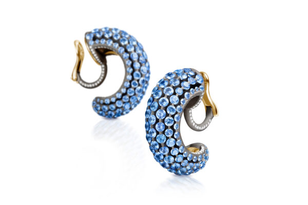 Light Blue Sapphire And Diamond Creole Earrings