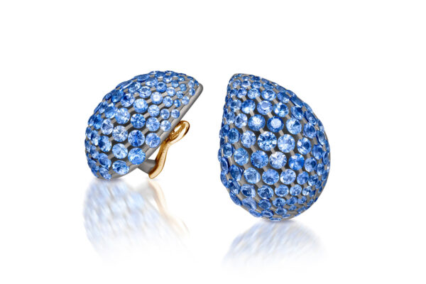 SABBA: A Pair Of Light Blue Sapphire And Diamond Gouttes Earrings» Price On Request «