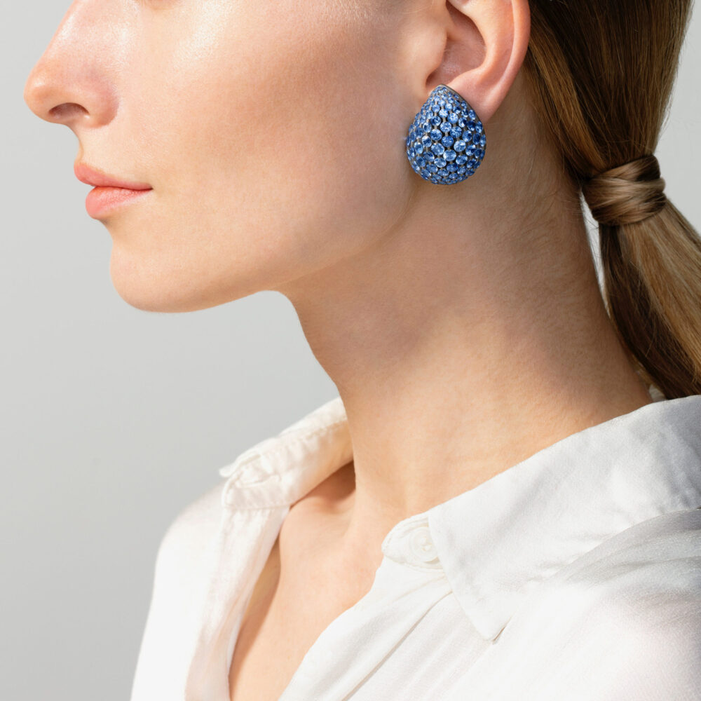 SABBA: A Pair of Light Blue Sapphire and Diamond Gouttes Earrings