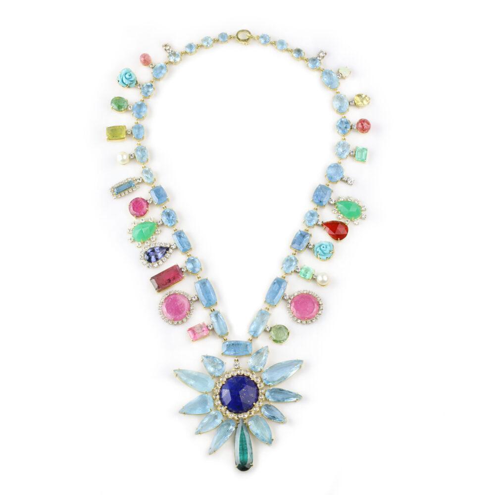 Irene Neuwirth Multi-Gem Pendant Necklace