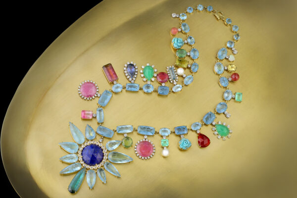 Irene Neuwirth Multi-Gem Pendant Necklace