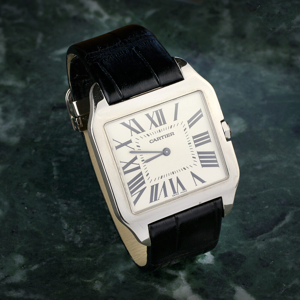 Cartier White Gold Santos Dumont Wristwatch