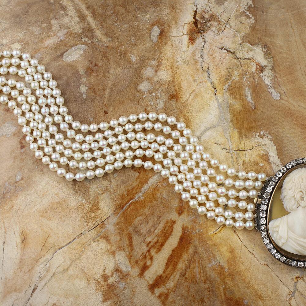 Hardstone Cameo, Diamond and Multi-strand Pearl Bracelet
