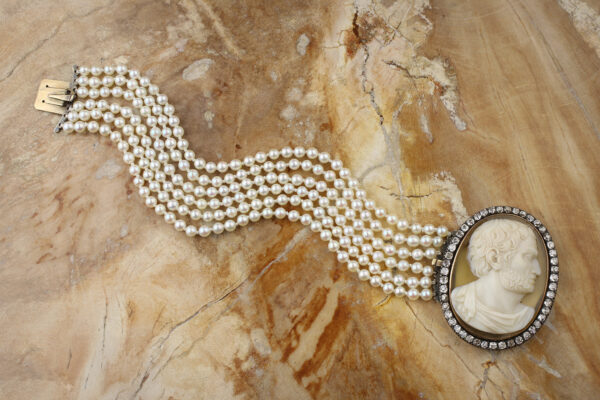 Hardstone Cameo, Diamond And Multi-strand Pearl Bracelet