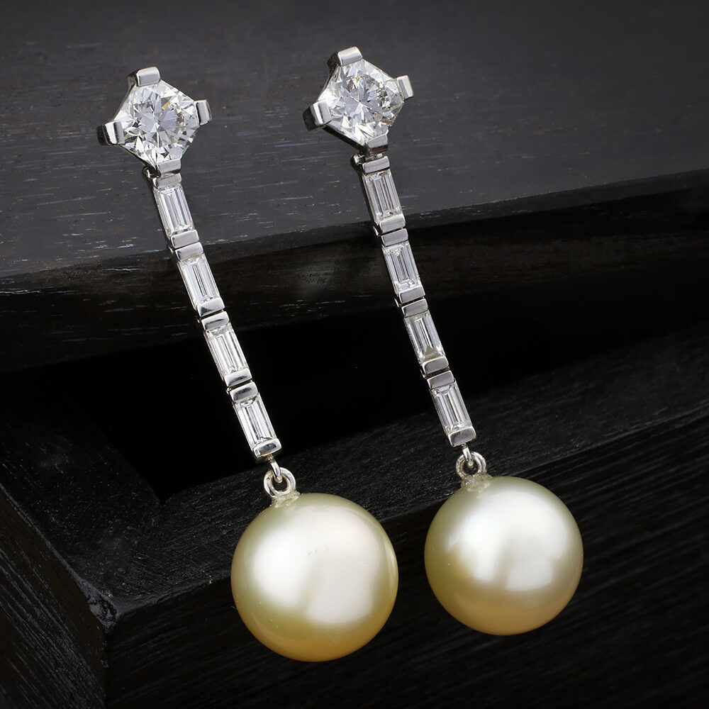 Diamond and South Sea Pearl Ear Pendants