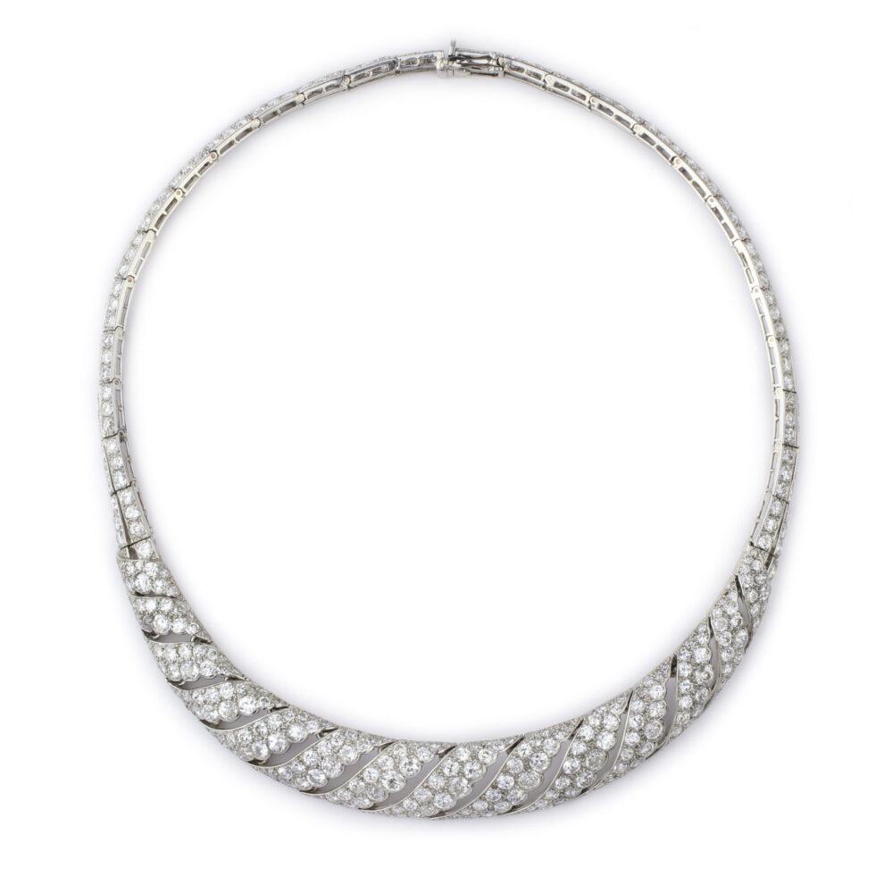 Cartier, An Art Deco Diamond, Platinum and Gold Necklace