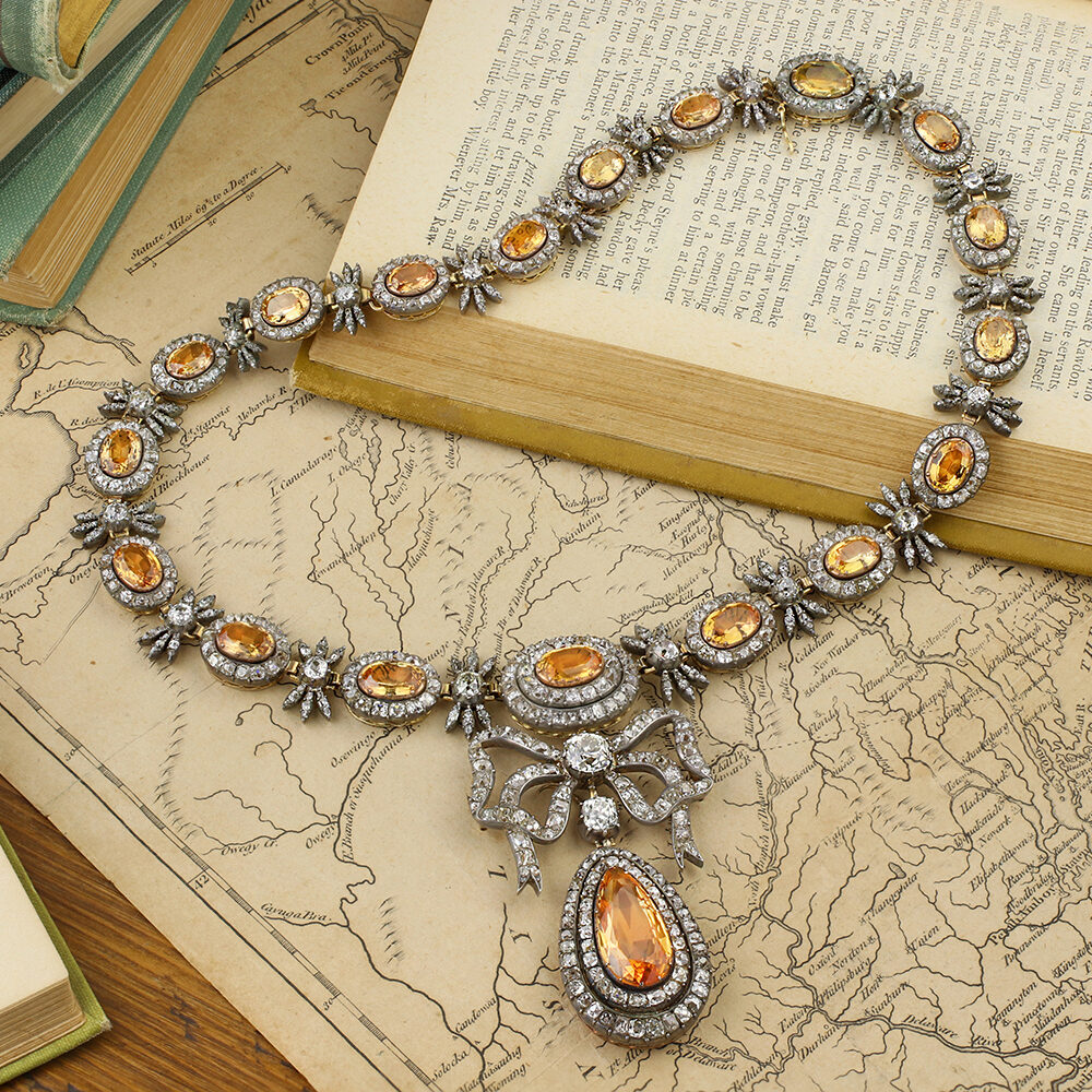 Antique Topaz and Diamond Necklace