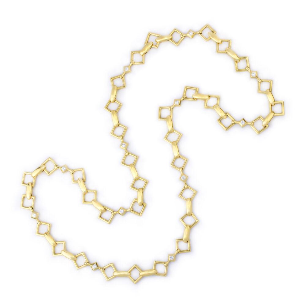 Van Cleef & Arpels, Diamond set Gold Chain Necklace