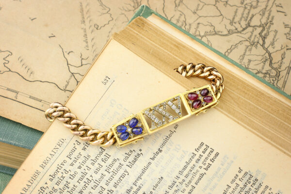 An Antique Sapphire, Ruby And Diamond Bracelet