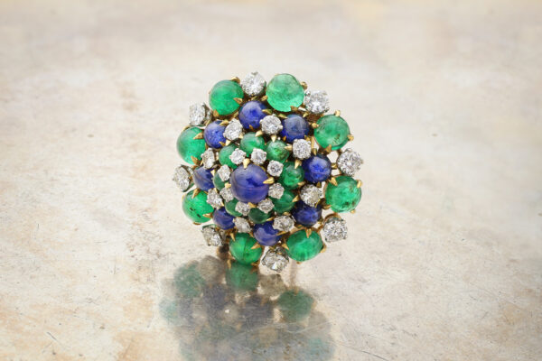 A Diamond, Emerald And Sapphire Brooch