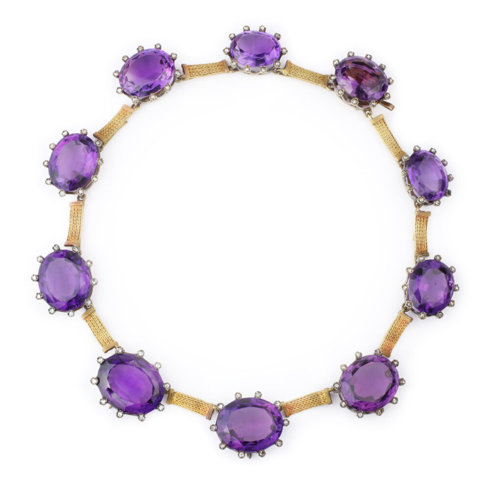 Antique Gold, Amethyst and Diamond Necklace