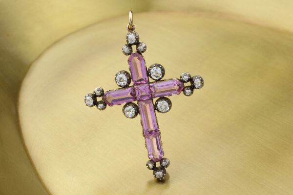 Antique Pink Topaz And Diamond Cross Pendant