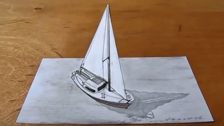 Photo of Speed draw a sailboat. How to draw a 3D sailboat.