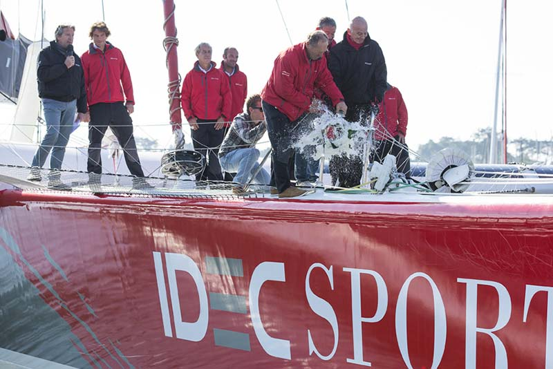 IDEC Sport Maxi Trimaran christening with champagne by skipper Francis Joyon. Photo Jean Marie Liot / DPPI / IDEC.