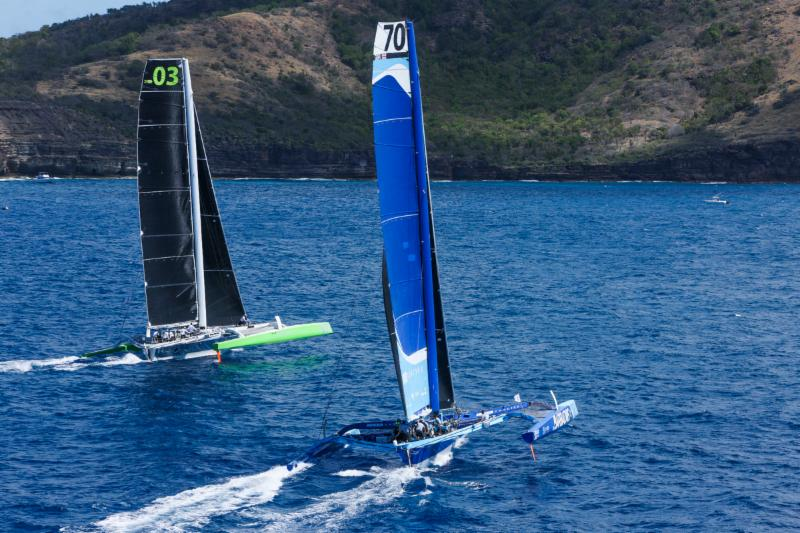 Battle of the MOD70s: Lloyd Thornburg's Phaedo3 and Tony Lawson's Concise 10 at the start © RORC/Tim Wright