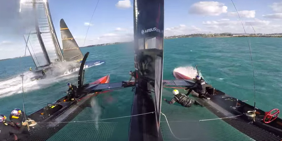 Photo of Close call between Artemis Racing and ORACLE TEAM USA