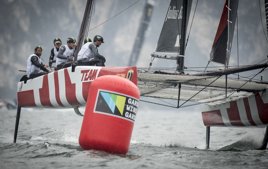 Team Tilt sail to second place at GC32 Riva Cup. Photo ©: Loris von Siebenthal