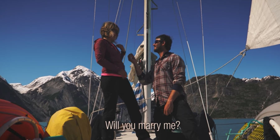 """Photo of """"Will you marry me?"""". A Wedding """"Proposail"""" on a Sailboat in Glacier Bay. VIDEO"""