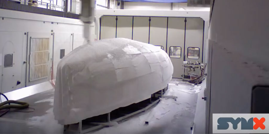 """Photo of J/121: How to make the """"final cut"""" of a 40 foot sailboat hull plug in less than 2 days"""