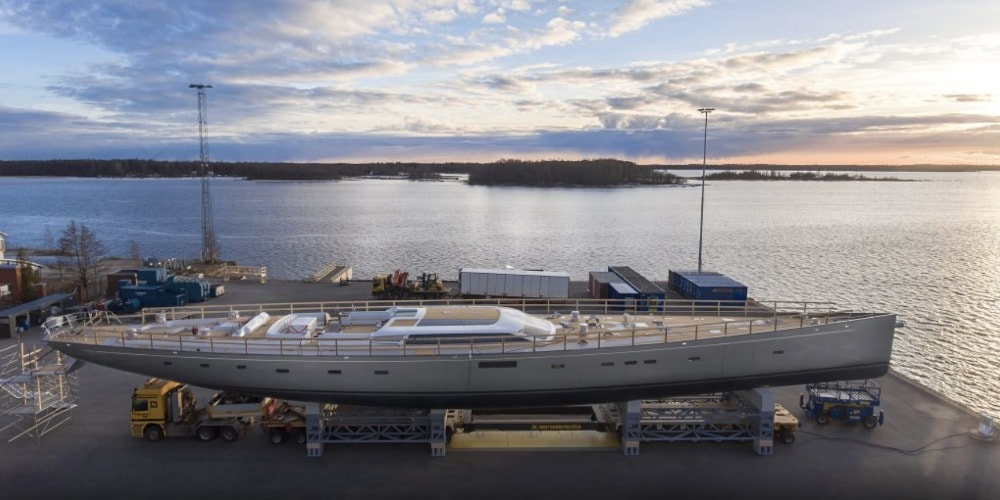 Photo of Baltic 175 Pink Gin VI, the World's Largest Carbon Fibre Sloop, takes the Road. VIDEO