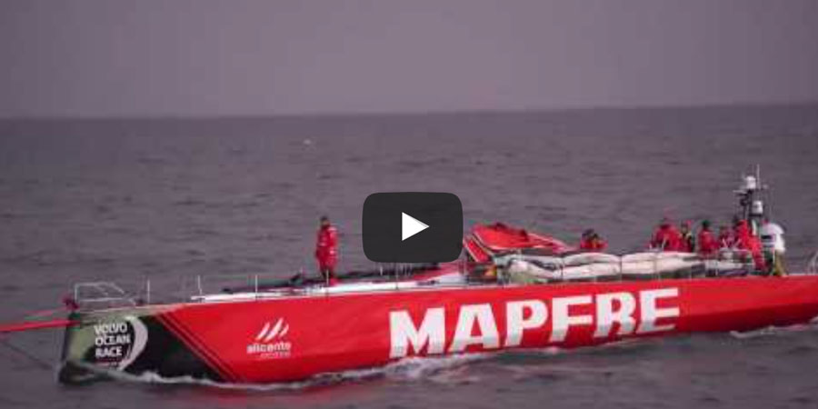 Photo of MAPFRE dismasts during offshore testing in Spain. VIDEO