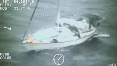 Photo of Coast Guard Rescues 2 Sailors and their Dog During Hurricane Irma. VIDEO