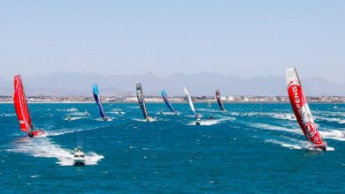 Photo of Volvo Ocean Race fleet flying out of Cape Town