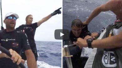 Photo of Man overboard on leg leader Sun Hung Kai/Scallywag