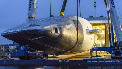 Photo of The impressive rollover of the new 266ft Project 400 by Royal Huisman