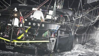 Photo of Damage to Alex Thomson's Hugo Boss in closing stages of Route du Rhum