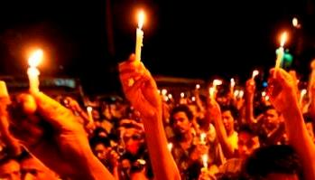 Candles flicker  against CAA, NRC, JNU violence
