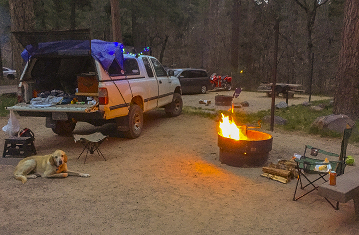 Our campfire, but I got in the truck because it is softer.