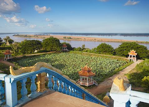 View of Mekong River from Wat Han Chey (Hanchey), Kampong Cham, Cambodia