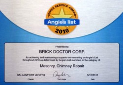 Thumbnail of the Brick Doctor Angie's List Certificate for 2010