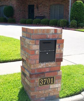 Brick Mailbox with Brass Number Plate