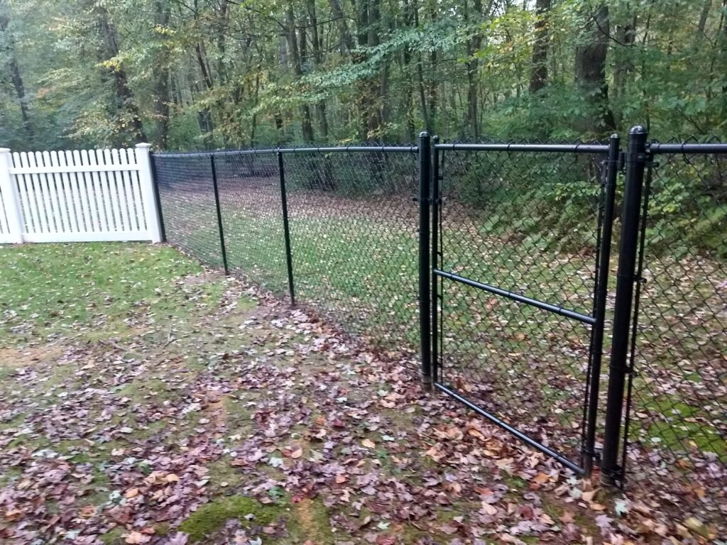 5_ H Black Vinyl Coated Chain Link Gate