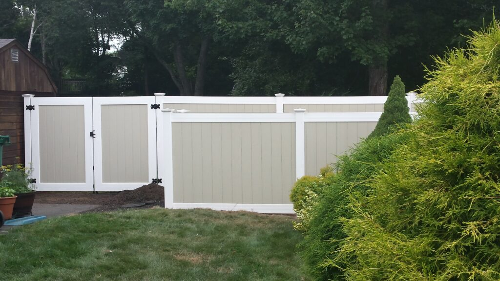 6_ H _ 4.5_ H Two-Tone Tan _ White Solid Privacy With Double Gate