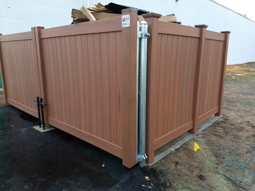 Commercial Cedar Grain Vinyl Dumpster Enclosure