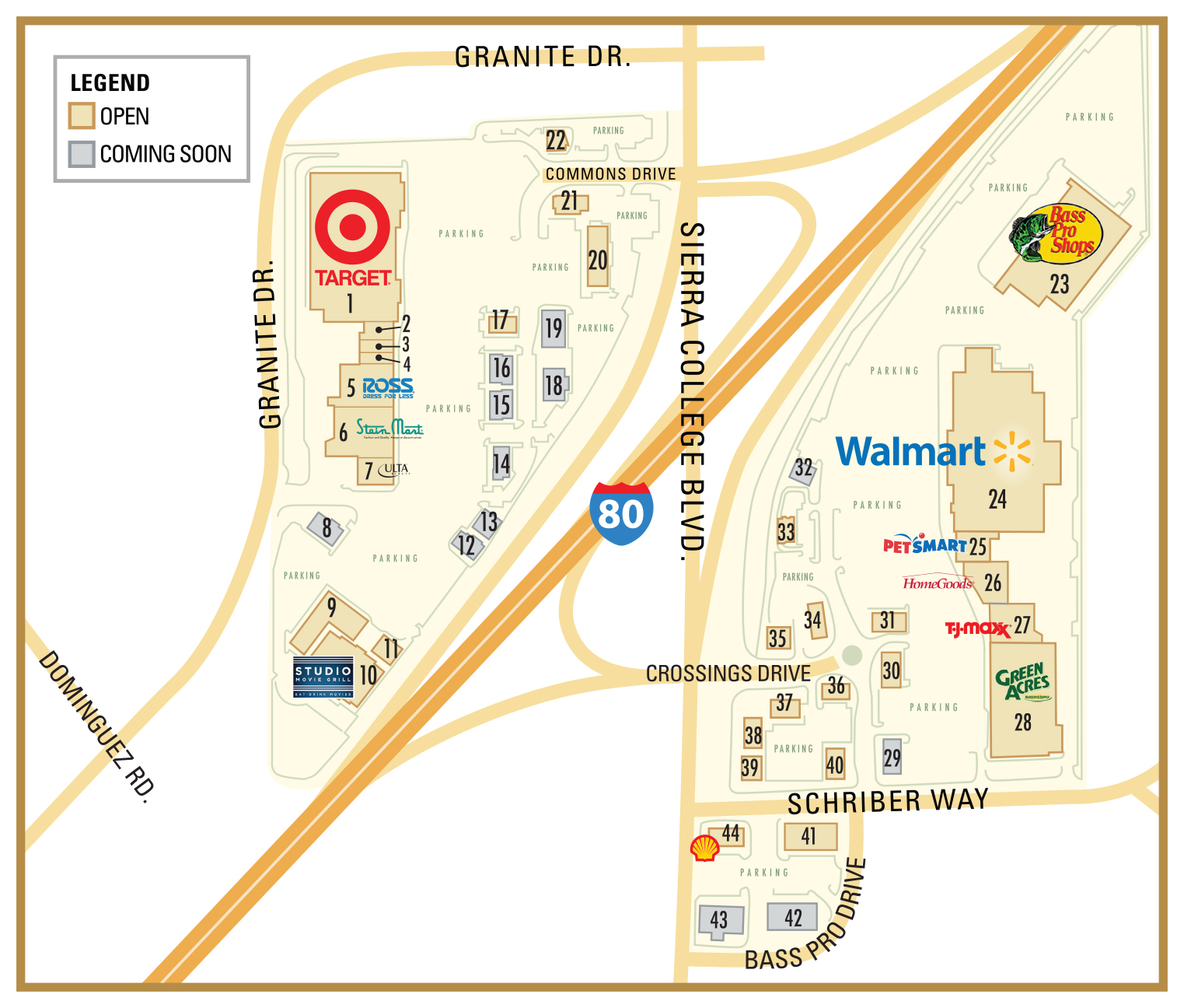 Rocklin Commons and Rocklin Crossings Directory Map