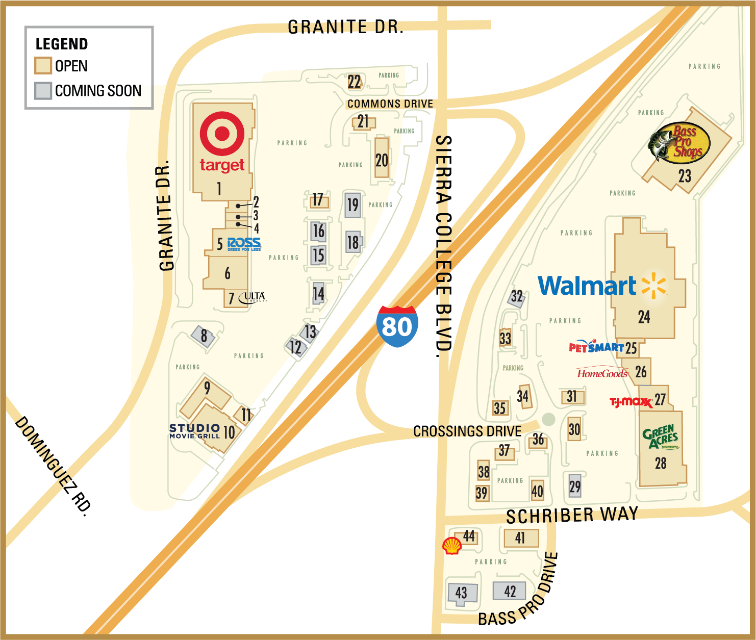 Rocklin Commons & Rocklin Crossings Directory Map