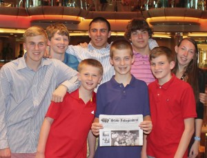 These Stow kids escaped this year's brutal winter and went on a cruise to Grand Cayman and Cozumel, Mexico over February Break.  Back row, Collin Streeter, Jimmy Henry, Egan Bachtell, Robert and Brooke Braceland.  Front row, Kevin Henry, Eli Bachtell and Nicky Streeter