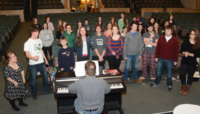 Members of the  cast of Les Miserables at a recent rehearal. From left:  Lyndsey Hawkes of Stow; Tyler Plaskon; Stow's Douglas Meeker; Kelly Ryan; Marcus Sardella and Merisa Kouvo, both of Stow; Sam Keith; Eric Watterson; Ryan Bonner; and Lexi Murtha.                                          (Jonathan Daisy; Daisy Design Photography)