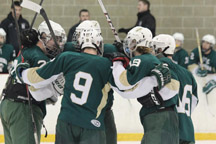 Teamwork let the Nashoba boys ice hockey team defeat Oakmont 5-2 to advance to the Central Mass semifinals.   (Courtesy Kim Gilchrest)