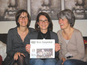Stow resident Cordula Schwarz with her two sisters on a recent visit to her family in Berlin, Germany. Left to right: Angela Kayser, Cordula, & Barbara Schwarz