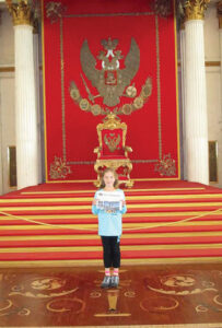 Masha Schmitt in the Throne Room at the Hermitage in Saint Petersburg, Russia in August 2013.