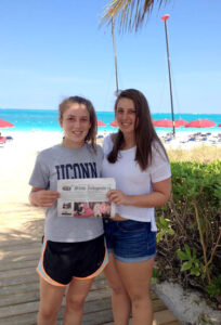 The Feakes family enjoyed a week in Turks & Caicos over April vacation. Hannah and Sadie read the Stow Independent on beautiful Grace Bay.
