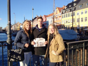 Emma Burr-Nyberg, Blake Korn, and Christina Bebernitz meet up in Copenhagen, Denmark while studying abroad in the fall of 2013.  All are 2011 graduates of Nashoba Regional.