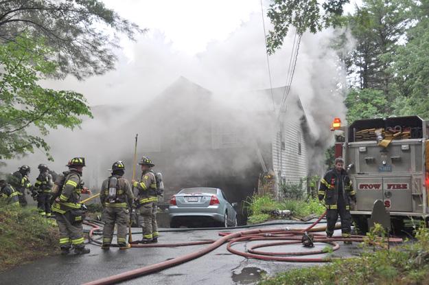 Hudson Road, Stow house fire.  Photo Nancy Arsenault