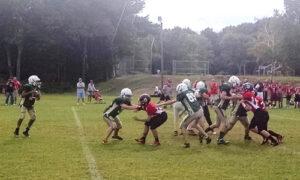 Nashoba eighth-grade quarterback Troy Barksdale goes back to pass during Saturday's jamboree against Tyngsborough at Gardner High School.       Michael LeClair